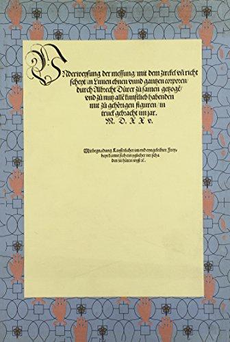 9780915346523: Underweysung der Messung mit dem Zirkel und Richtscheyt/Course in the Art of Measurement with Compass & Ruler (Printed Sources of Western Art Ser.) (German Edition)