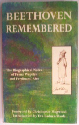 9780915556151: Beethoven Remembered: The Biographical Notes of Franz Wegeler and Ferdinand Ries (English and German Edition)