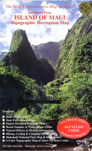 Maui, HI Topographic Recreation Map: Earthwalk Press