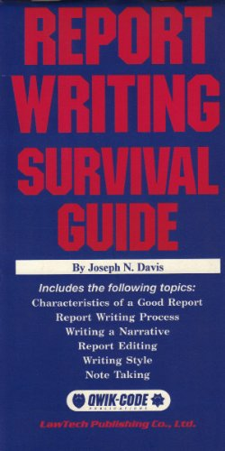 Report Writing Survival Guide (Qwik-Code) (9780915905973) by Joe Davis