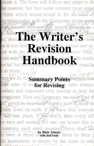 The Writer's Revision Handbook: Summary Points for Revising (0916387275) by Blair Adams