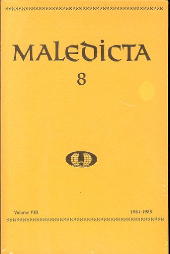 Maledicta 8 (1984-85): The International Journal of Verbal Aggression, vol. 8.