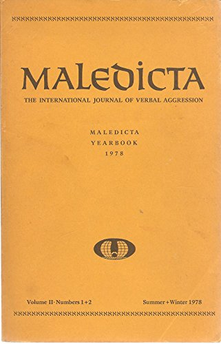 9780916500528: Maledicta 1978 : The International Journal of Verbal Aggression, Vol. 2, No. 1 and 2