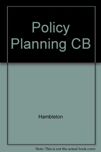 9780916672928: Policy Planning and Local Government