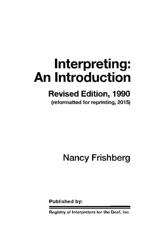 Interpreting: An Introduction - Revised: Frishberg, Nancy J.