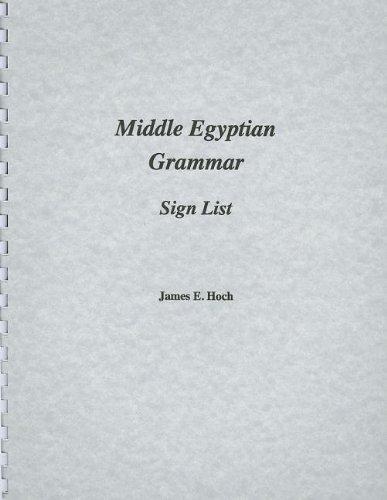 Middle Egyptian Grammar: Sign List (Paperback): James Hoch