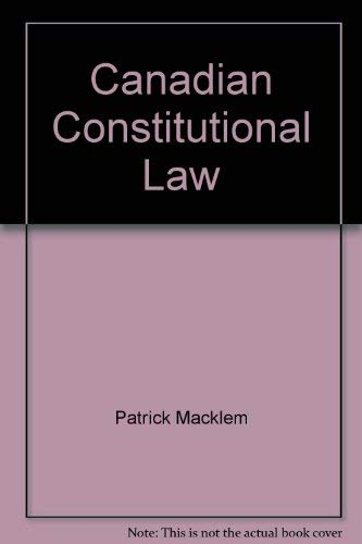 9780920722923: Canadian constitutional law
