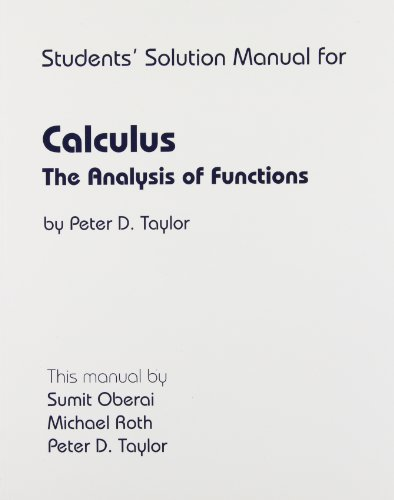 9780921332404: Calculus: The Analysis of Functions: Students' Solution Manual