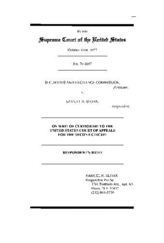 9780923891220: U.S. Supreme Court brief in SEC vs. Samuel H. Sloan, 436 US 103 (1978)