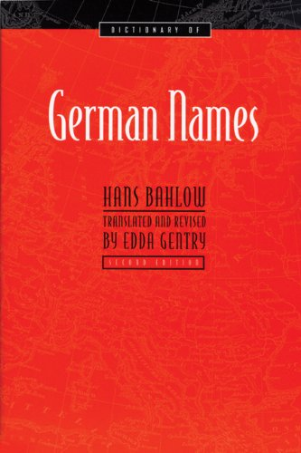 9780924119361: Dictionary of German Names