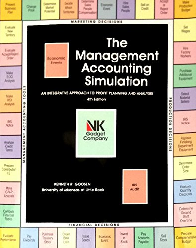 Management Accounting Simulation: kenneth r goosen