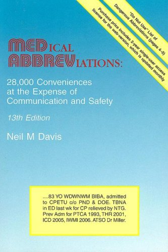 9780931431135: Medical Abbreviations: 28,000 Conveniences at the Expense of Communication and Safety