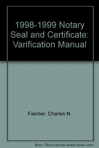 9780933134904: 1998-1999 Notary Seal and Certificate: Verification Manual
