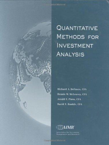 9780935015690: Quantitative Methods for Investment Analysis