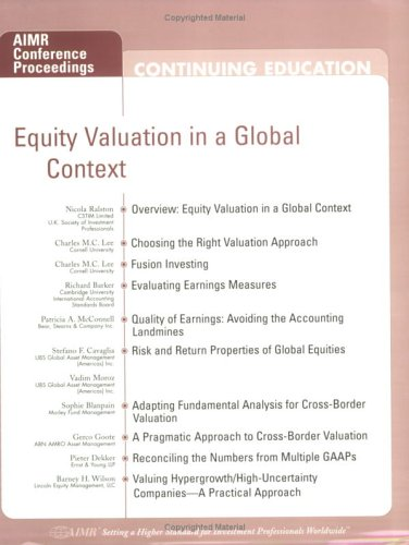9780935015904: Equity Valuation in a Global Context