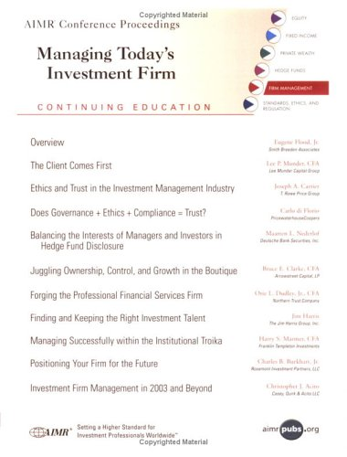 Managing Today's Investment Firms: Joseph A. Carrier,