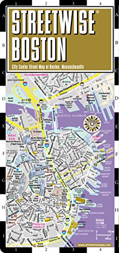 9780935039085: Streetwise Boston Map - Laminated City Center Street Map of Boston, Massachusetts - Folding pocket size travel map with MBTA subway map & trolley lines
