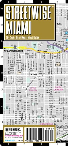 9780935039511: Streetwise Miami Map - Laminated City Center Street Map of Miami, Florida - Folding pocket size travel map with metrorail