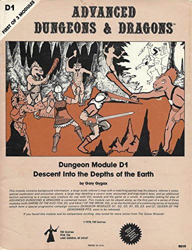 9780935696059: Descent Into the Depths of the Earth: Dungeon Module D1 (First of 3 Modules) (Advanced Dungeons & Dragons)