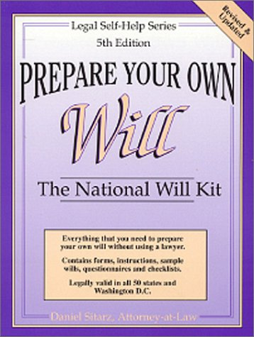 9780935755725: Prepare Your Own Will: The National Will Kit (Legal Self-Help Series)