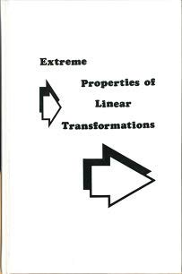 Extreme Properties of Linear Transformations: Amir-Moez, Ali R.