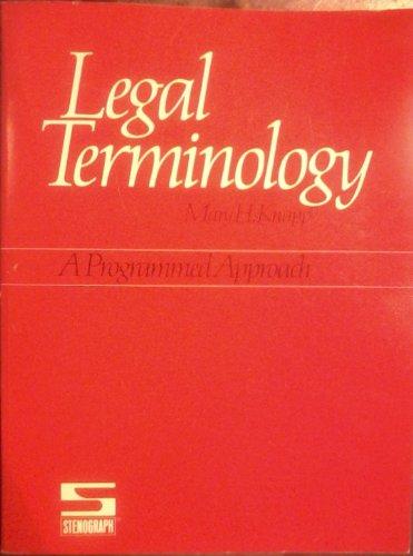 9780937112007: Legal terminology: A programmed approach