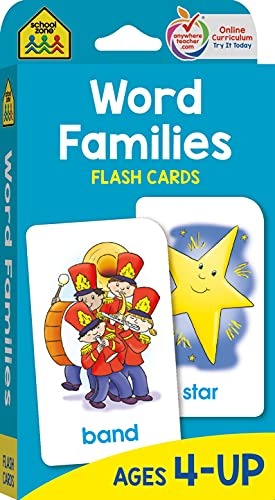 Word Families Flash Cards 9780938256823 AMAZING - Cat, hat, sat, fat, rat! How many words can your child make with the same ending sound? Hey, they all rhyme! These fun flash c