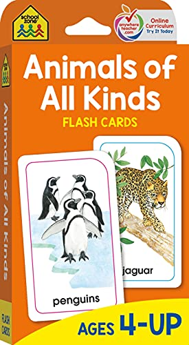 9780938256977: School Zone - Animals of All Kinds Flash Cards - Ages 4 and Up, Animal Names & Classes, Animal Facts and Information, Word-Picture Recognition, and More