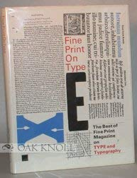 9780938491163: Fine Print On Type: The Best of Fine Print Magazine on Type and Typography