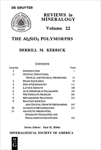 9780939950270: The A12Si05 Polymorphs (Reviews in Mineralogy Series Volume 22) (Reviews in Mineralogy & Geochemistry)