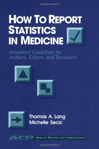 9780943126449: How to Report Statistics in Medicine: Annotated Guidelines for Authors, Editors and Reviewers (Acp Information Technology Series)