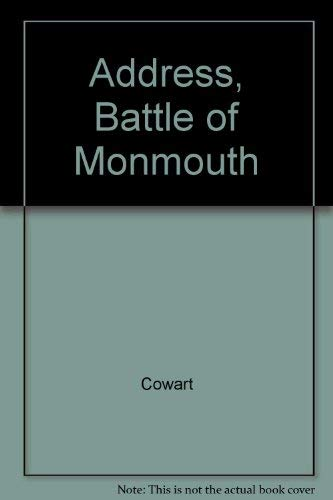 ADDRESS, BATTLE OF MONMOUTH AND POEM, PATRIOT SIRES OF MONMOUTH: Cowart, Samuel C.