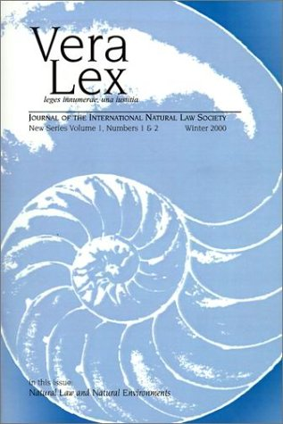 9780944473535: Vera Lex: Journal of the International Natural Law Society