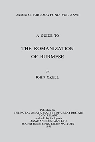 9780947593322: A Guide to the Romanization of Burmese (Royal Asiatic Society Books)