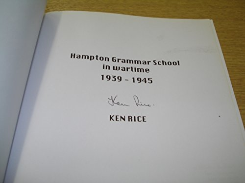 9780952211310: Hampton Grammar School in Wartime 1939-1945