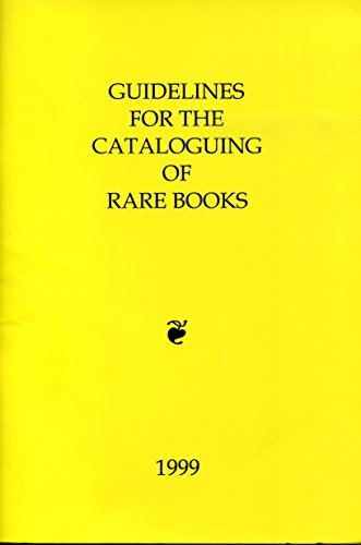 Guidelines for the Cataloguing of Rare Books (0952988119) by Library Association