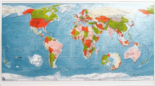 9780955558757: Colourmap: Political with Physical Shading: World Wall Map - Magnetic Tubed Version 2