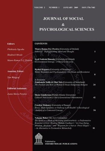 9780955969041: Journal of Social & Psychological Sciences