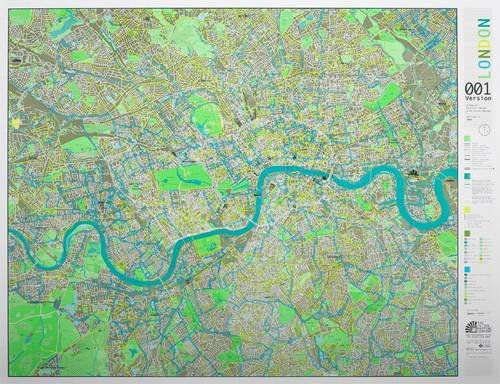 9780956072535: London Wall Map with Cycle Routes: Aqua/champagne/apple Version 1