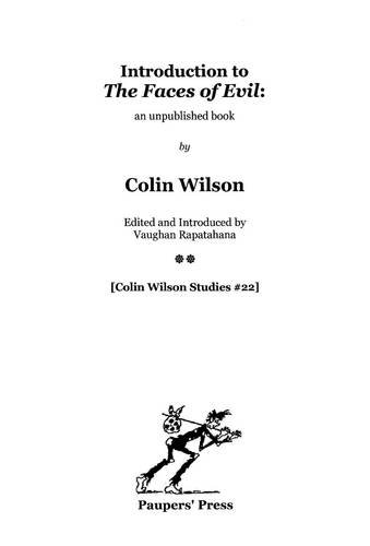 9780956866332: Introduction to 'The Faces of Evil' :: an unpublished book (Colin Wilson Studies)