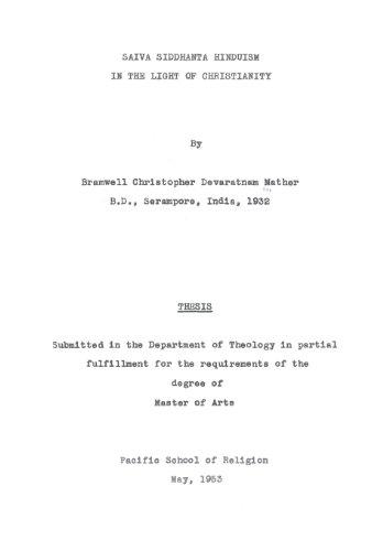 Saiva Siddhanta Hinduism In The Light of: Bramwell C D