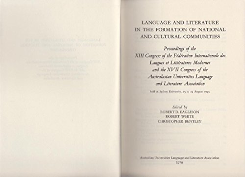 Language and Literature in the Formation of National and Cultural Communities. [ Languages and ...
