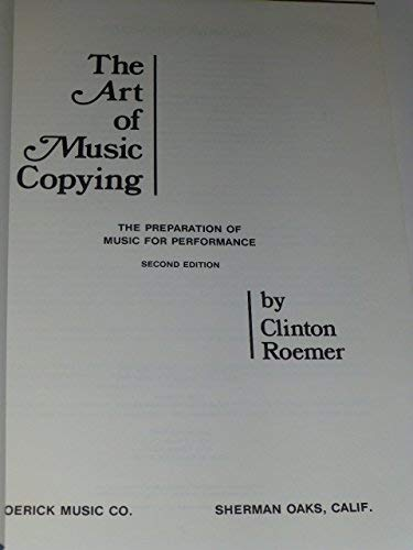 9780961268442: The Art of Music Copying