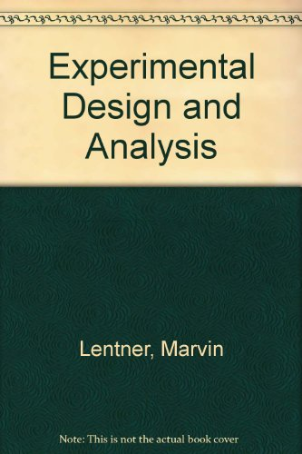 9780961625504: Experimental Design and Analysis