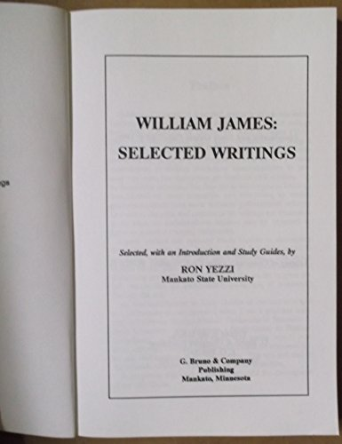 9780961936822: William James: Selected Writings (Guides to Philosophy)