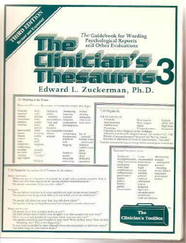 9780962228148: Clinician's Thesaurus: The Guidebook for Writing Psychological Reports (Clinician's toolbox)