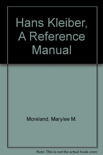 Hans Kleiber, A Reference Manual: Moreland, Marylee M.; Temple, Gary L.