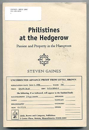 9780965642125: Philistines At The Hedgerow - Passion And Property In The Hamptons