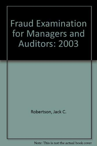 9780965678537: Fraud Examination for Managers and Auditors: 2003