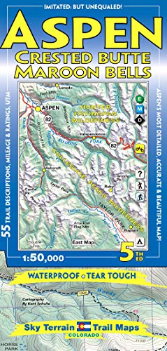 9780966550863: Aspen, Crested Butte & Maroon Bells Trail Map 4th Edition
